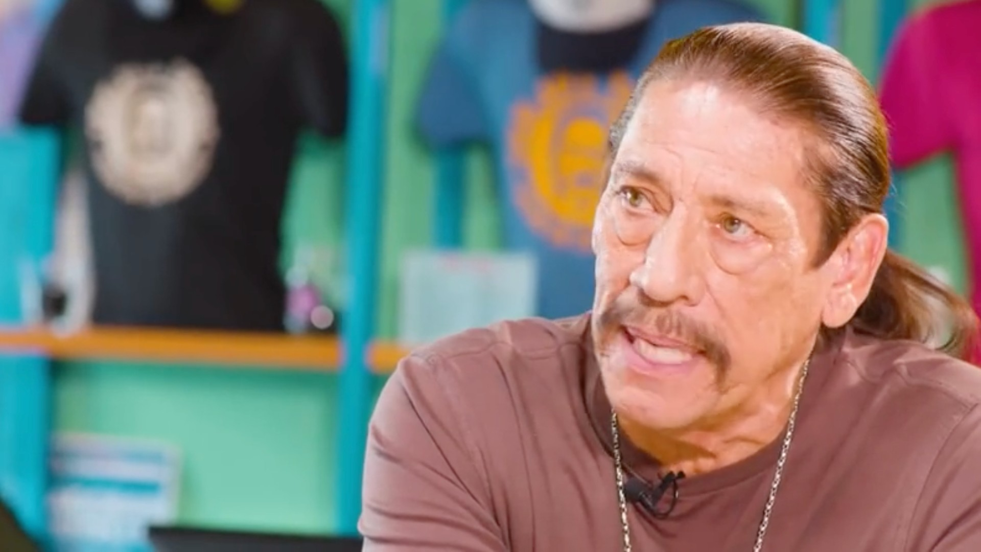 Danny Trejo is seen inside one of his Trejo's Tacos locations. (KTLA)