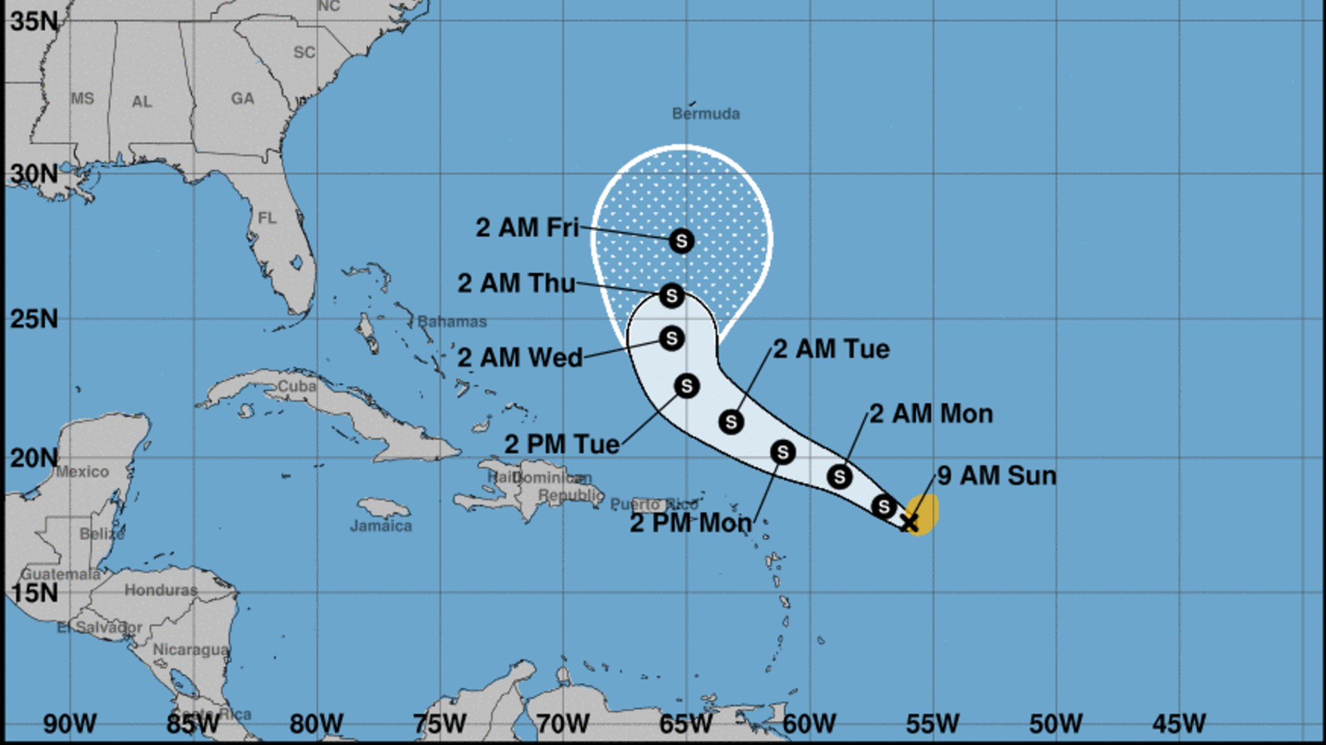 Tropical Storm Peter became the sixteenth named storm in the open Atlantic early Sunday morning, Sept. 19, 2021. (National Weather Service)