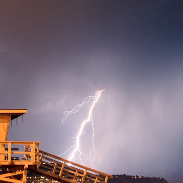 The Los Angeles County Fire Department, Lifeguard Division tweeted a photo of lighting on Oct. 4, 2021.