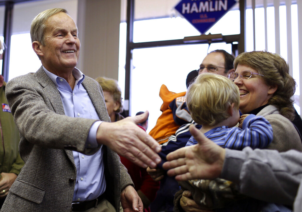 In this Nov. 5, 2012, file photo, Todd Akin, then a Missouri Republican Senate candidate, campaigns in Florissant, Mo. (AP Photo/Jeff Roberson, File)