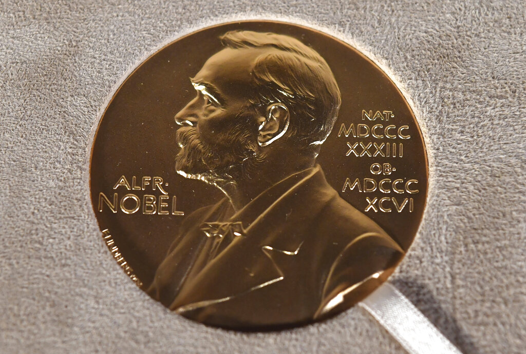 A Tuesday, Dec. 8, 2020 file photo of a Nobel medal displayed during a ceremony in New York. (Angela Weiss/Pool Photo via AP, File)