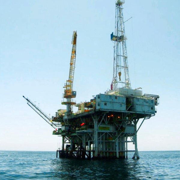 This undated file photo provided by the California State Lands Commission shows Platform Holly, an oil drilling rig in the Santa Barbara Channel offshore of the city of Goleta, Calif. (State Lands Commission via AP, File)