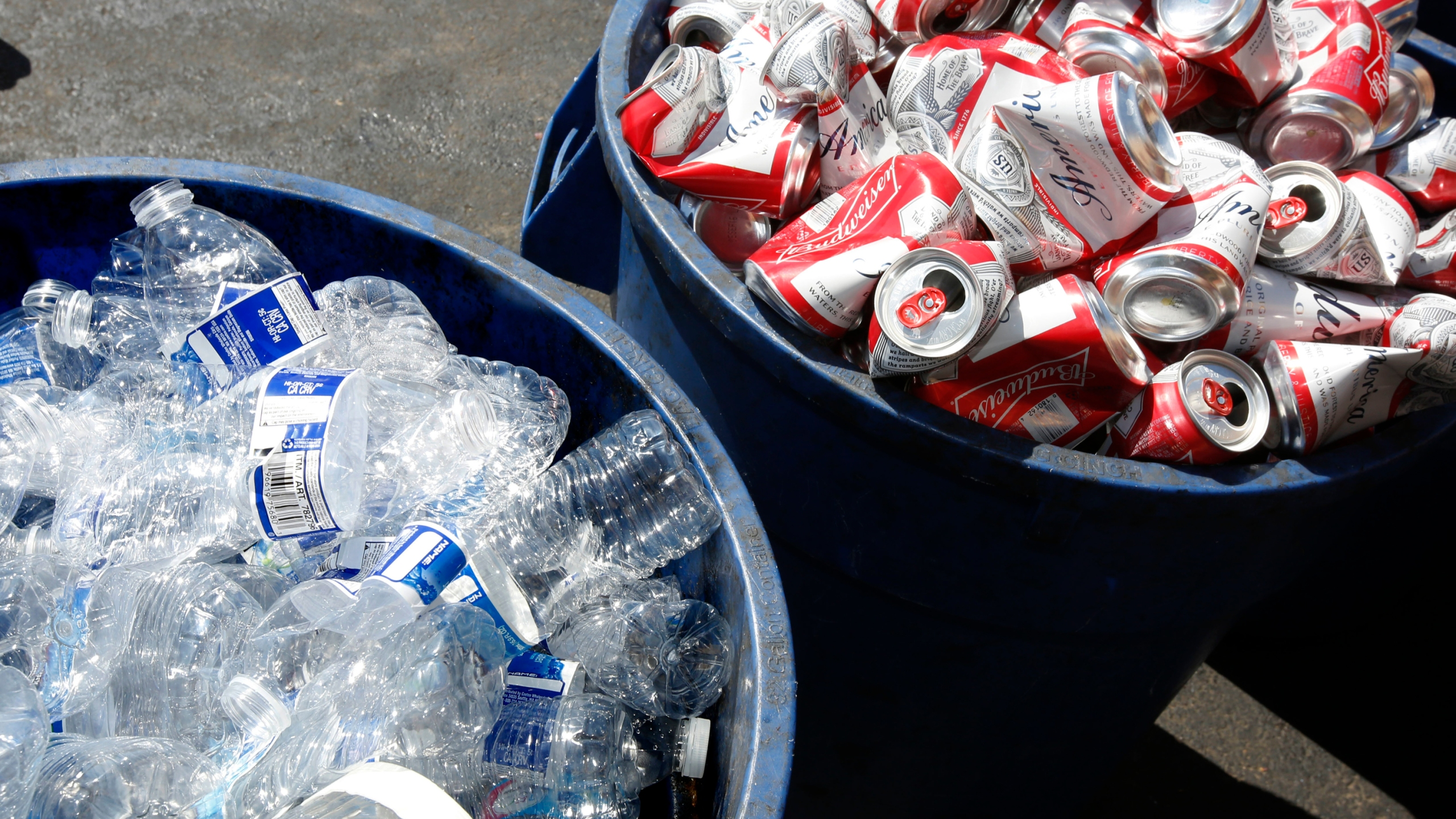 Cans and plastic bottles brought in for recycling are seen at a recycling center in Sacramento on July 5, 2016. (Rich Pedroncelli / Associated Press)