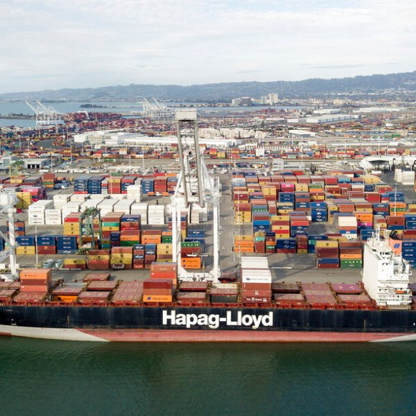 The Rotterdam Express is seen at the Port of Oakland, Wednesday, Oct. 6, 2021 in Oakland, Calif. (AP Photo/Josh Edelson)
