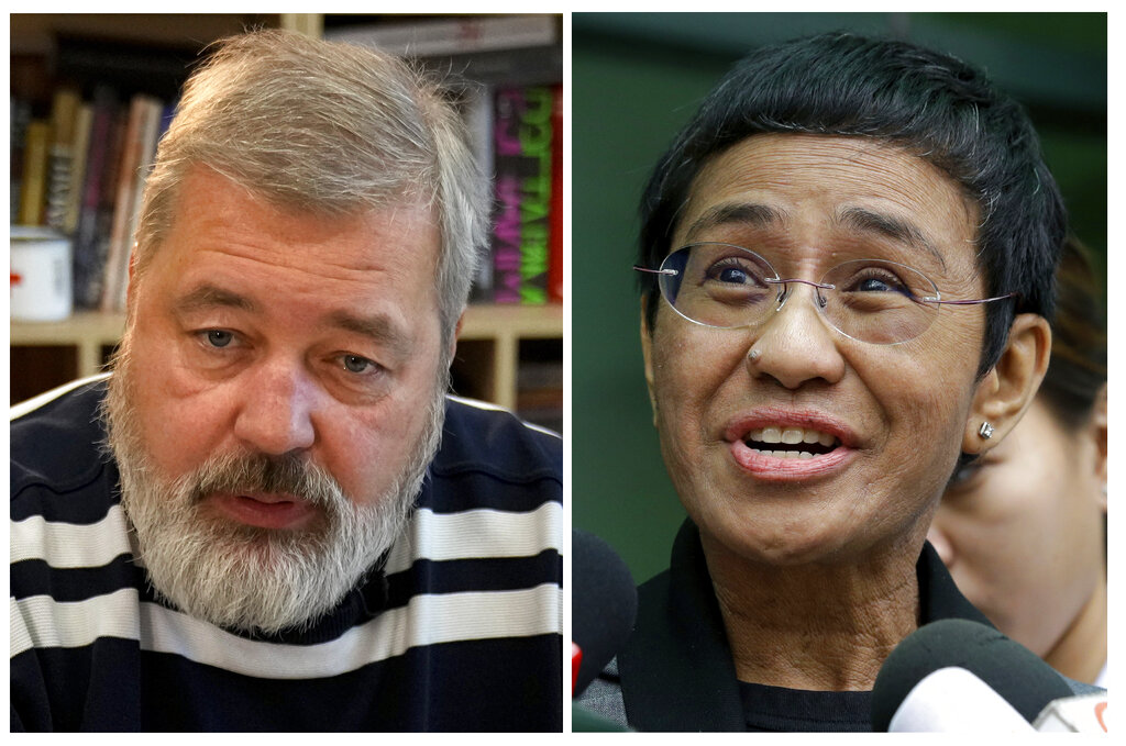 A combo of file images of Novaya Gazeta editor Dmitry Muratov, left, and of Rappler CEO and Executive Editor Maria Ressa. (AP Photo/Alexander Zemlianichenko and Aaron Favila, File)