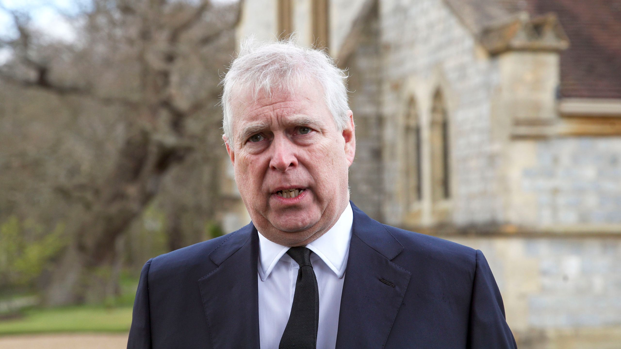 In this Sunday, April 11, 2021 file photo, Britain's Prince Andrew speaks during a television interview at the Royal Chapel of All Saints at Royal Lodge, Windsor, England. British police said Sunday, Oct. 10, 2021 that they will not be taking any further action against Prince Andrew after a review prompted by a Jeffrey Epstein accuser who claims that he sexually assaulted her. (Steve Parsons/Pool Photo via AP, File)