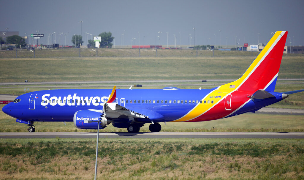In this July 2, 2021, file photo, a Southwest Airlines jetliner taxis down a runway for take off from Denver International Airport in Denver. (AP Photo/David Zalubowski, File)