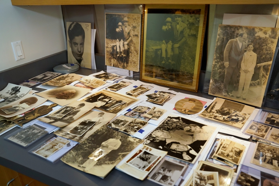 A collection of photographs from the estate of mob boss Al Capone is displayed at Witherell's Auction House in Sacramento on Aug. 25, 2021. (Rich Pedroncelli / Associated Press)