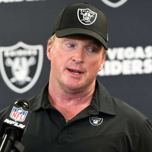Las Vegas Raiders head coach Jon Gruden meets with the media following an NFL football game against the Pittsburgh Steelers in Pittsburgh on Sept. 19, 2021. (Don Wright / Associated Press)
