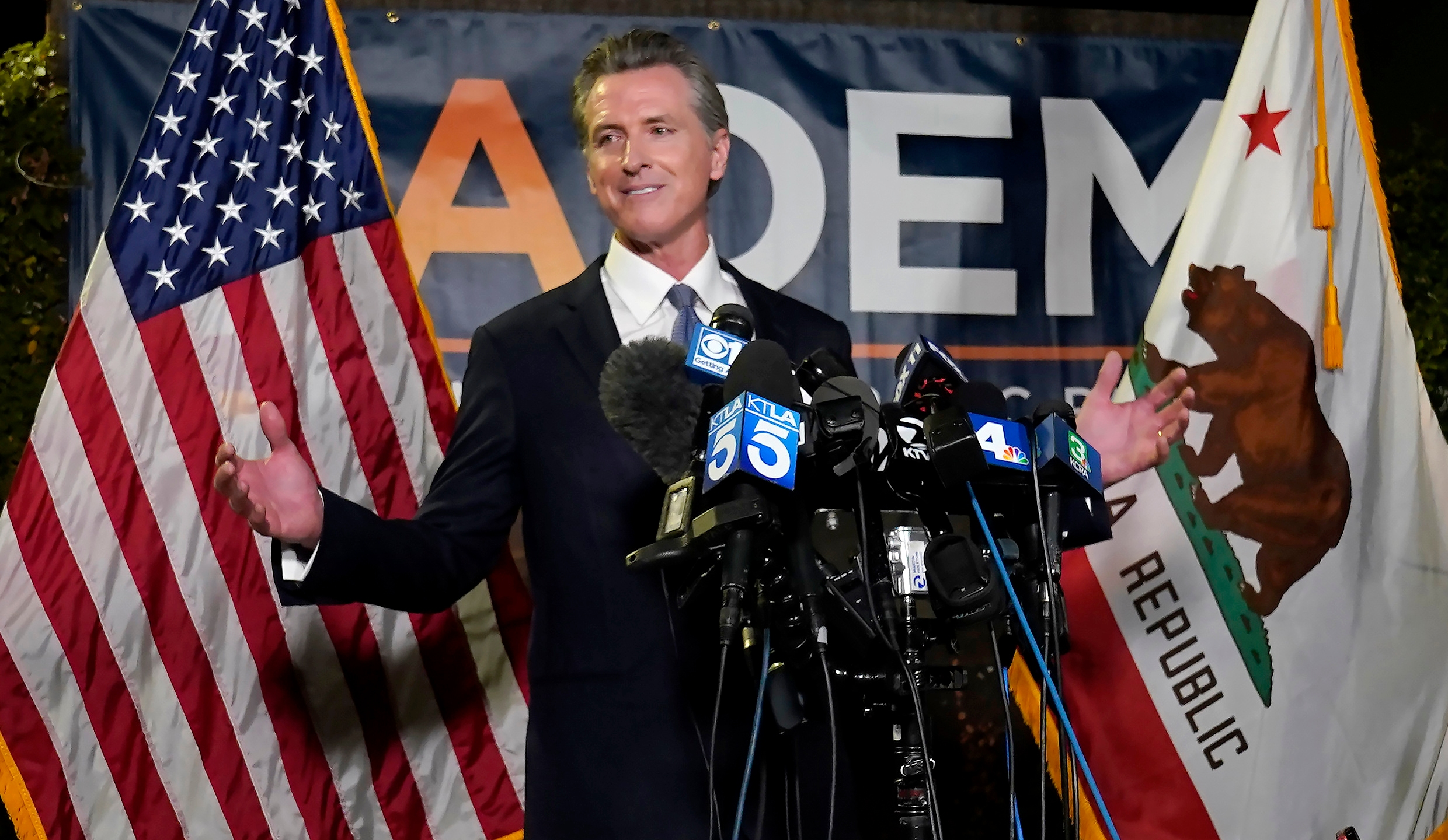 In this Sept. 14, 2021, file photo, California Gov. Gavin Newsom addresses reporters after beating back the recall attempt that aimed to remove him from office, in Sacramento, Calif. After surviving the attempted recall Newsom signed into law 92% of the bills lawmakers sent him at the end of the years legislative session that ended Sept. 10. (AP Photo/Rich Pedroncelli, File)