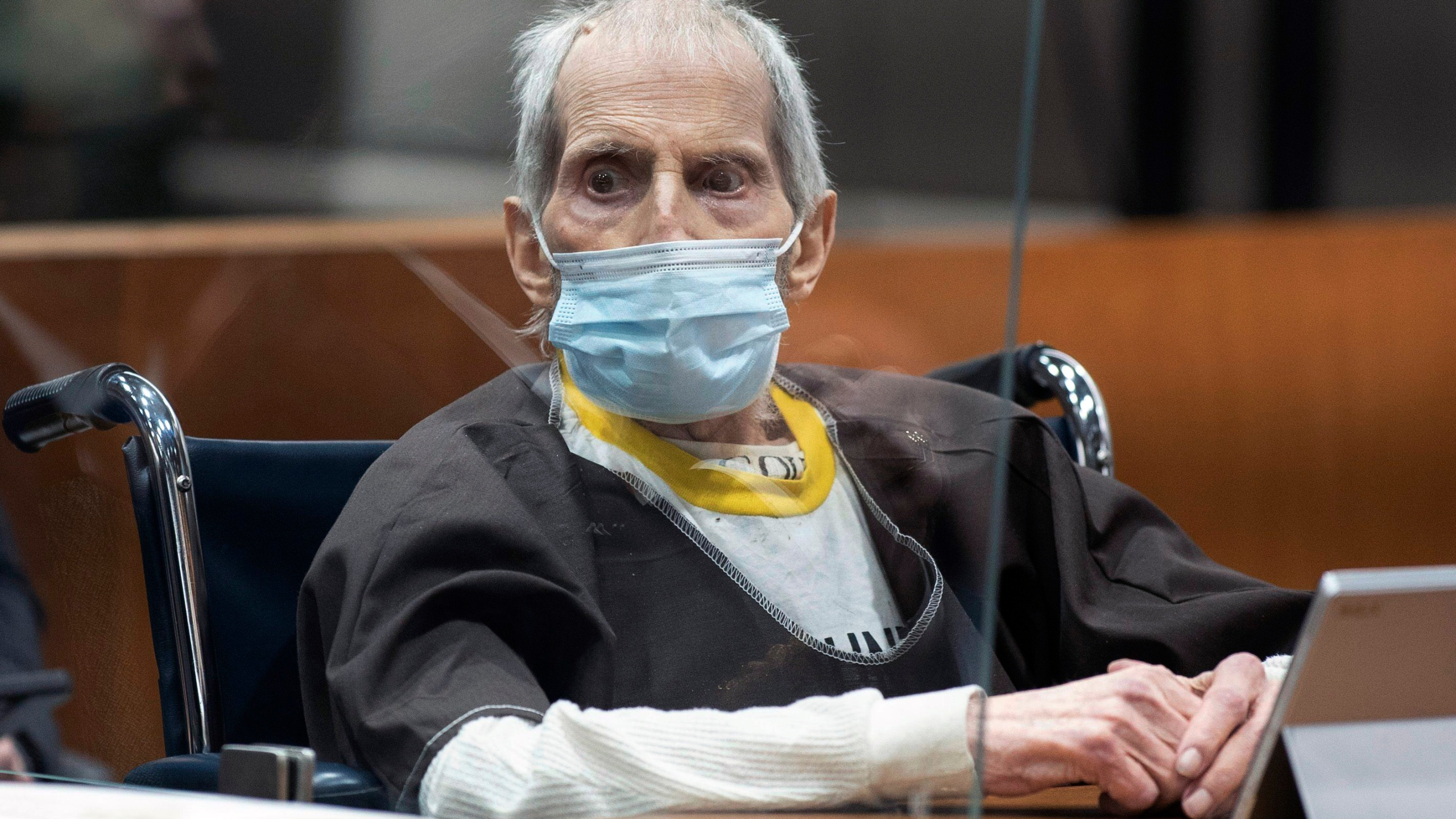 New York real estate scion Robert Durst, 78, sits in the courtroom as he is sentenced to life in prison without chance of parole, Thursday, Oct. 14, 2021 at the Airport Courthouse in Los Angeles. New York real estate heir Robert Durst was sentenced Thursday to life in prison without chance of parole for the murder of his best friend more that two decades ago. (Myung J. Chung/Los Angeles Times via AP, Pool)