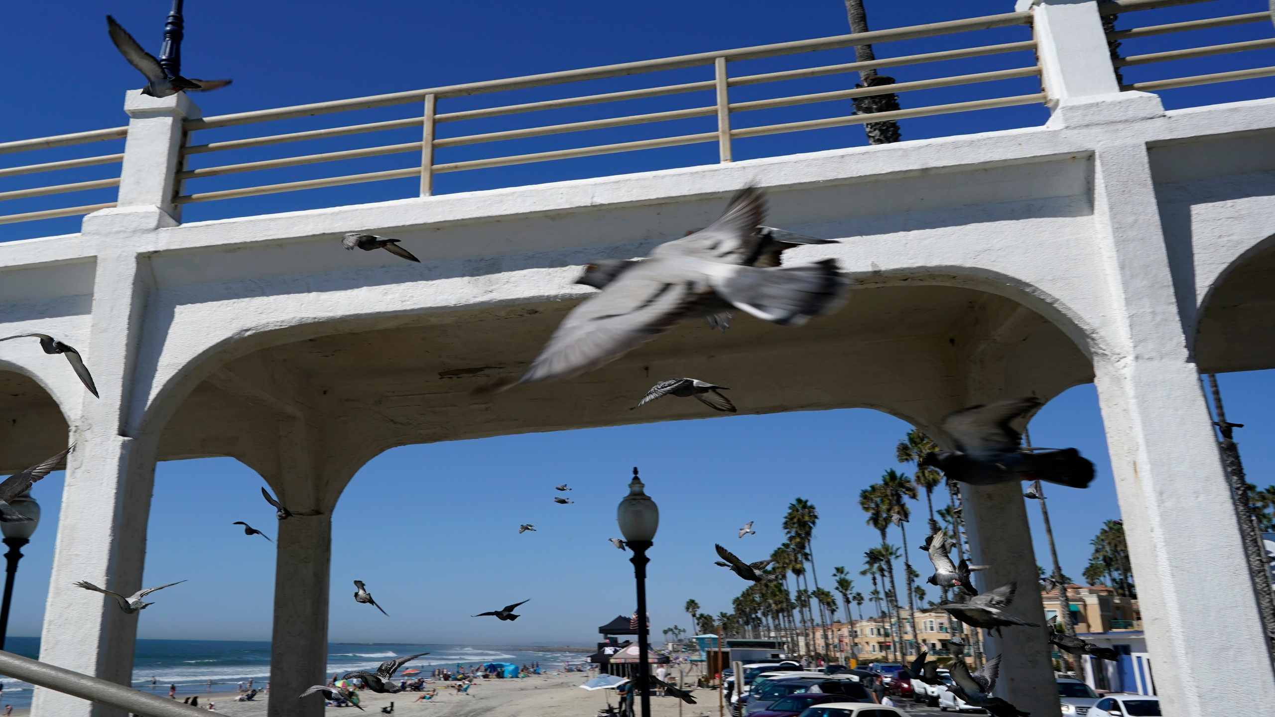 Birds fly past a bridge connecting the Oceanside pier to Pacific Street Friday, Oct. 15, 2021, in Oceanside, Calif. (AP Photo/Gregory Bull)