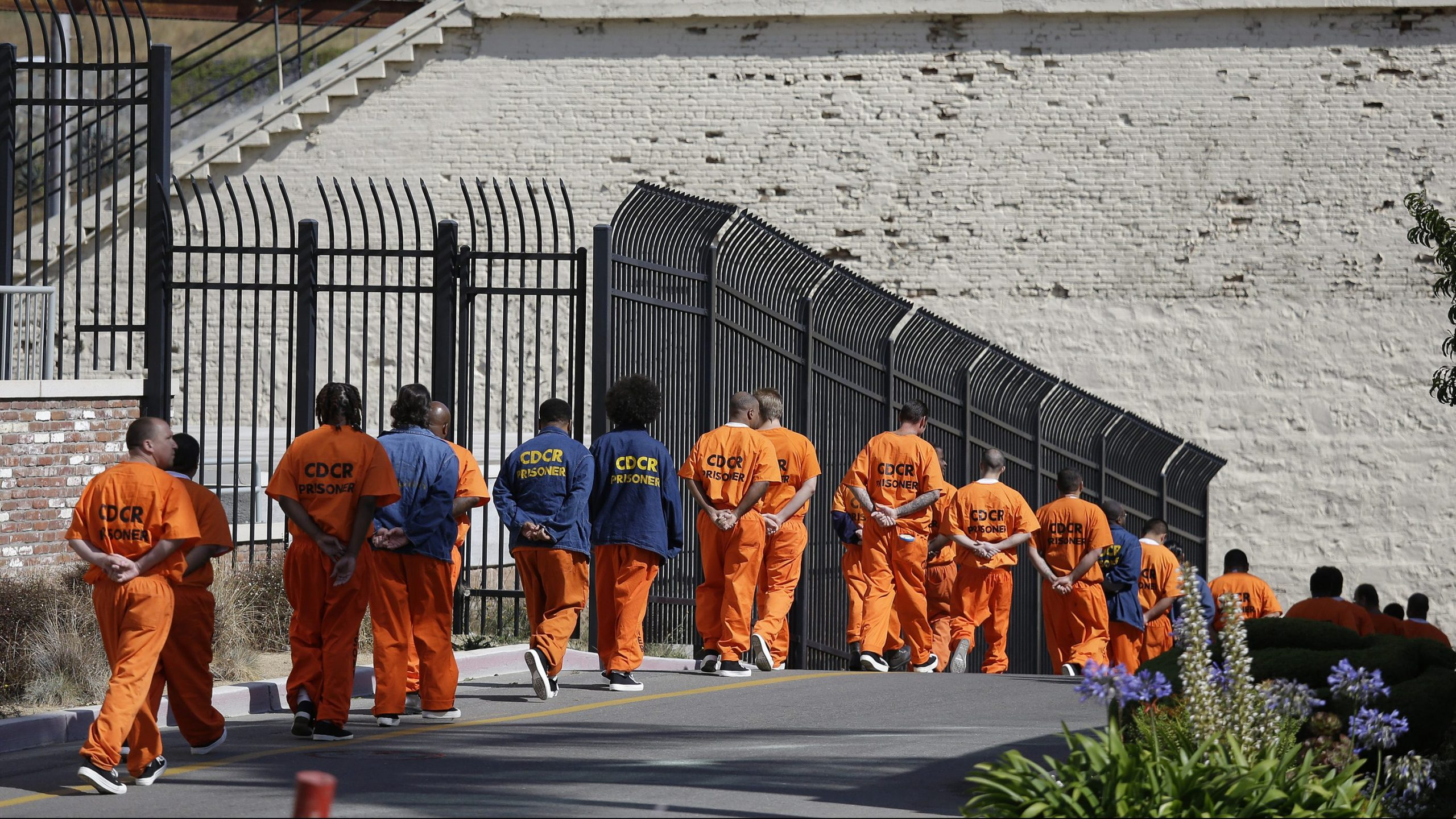 General population inmates walk in a line at San Quentin State Prison in San Quentin on Aug. 16, 2016. (Eric Risberg / Associated Press)