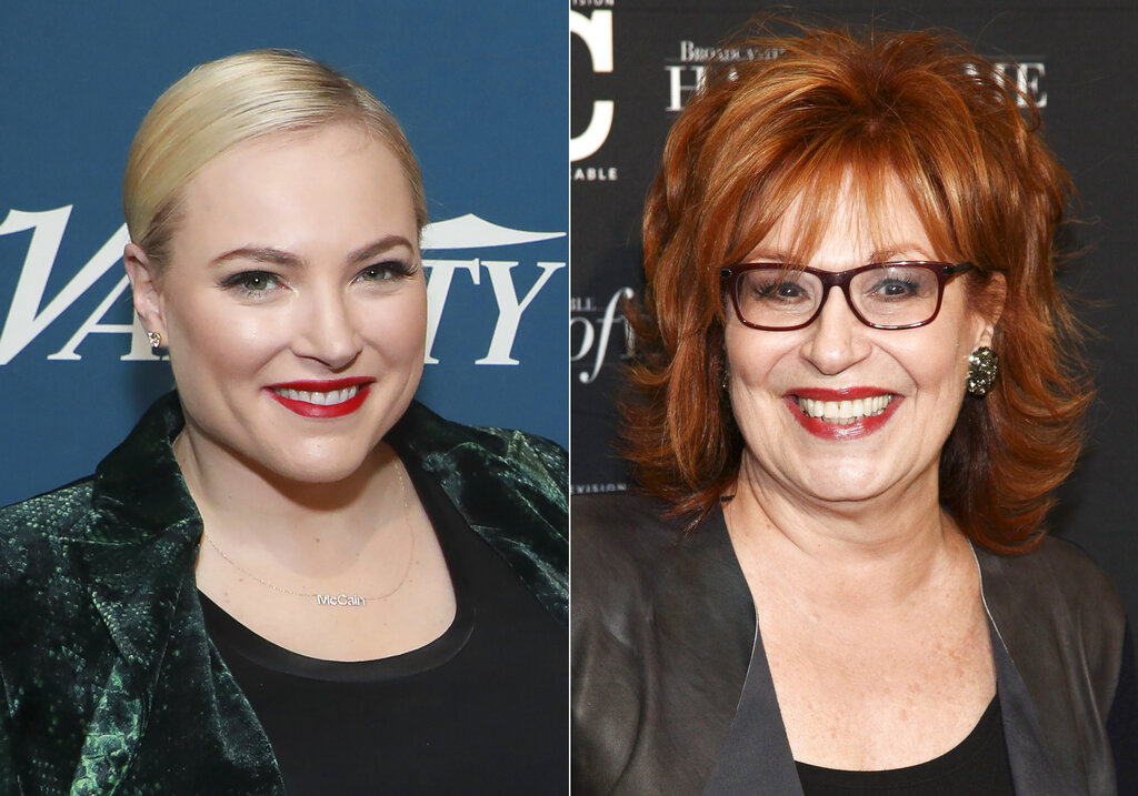 """Meghan McCain appears at Variety's third annual """"Salute to Service"""" celebration in New York on Nov. 6, 2019, left, and Joy Behar appears at the Broadcasting & Cable Hall of Fame Awards 27th Anniversary Gala in New York on Oct. 16, 2017. (AP Photo)"""
