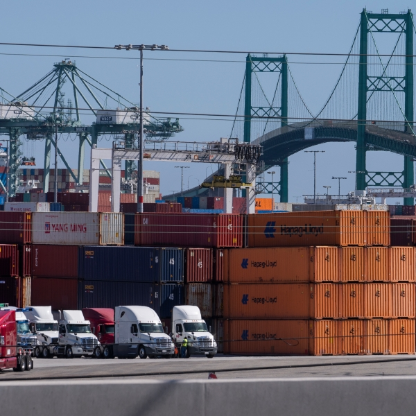 In this Oct. 19, 2021, photo trucks line up next to containers at the Port of Los Angeles in san Pedro, Calif. (AP Photo/Damian Dovarganes)