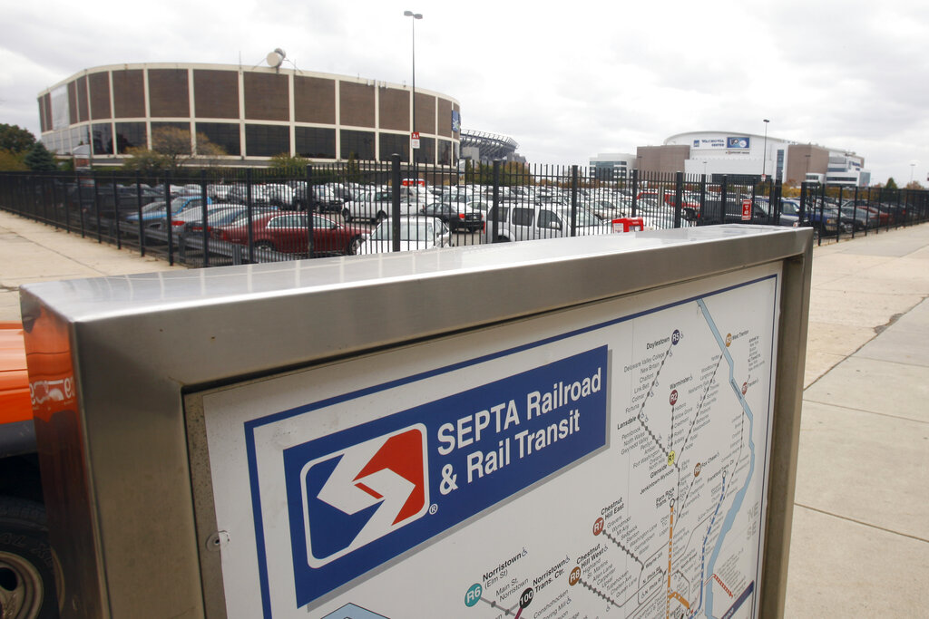 In this Friday, Oct. 30, 2009 file photo, A SEPTA transit map is shown outside the Pattison subway station near the Wachovia Spectrum, left, and the Wachovia center, right in Philadelphia. (AP Photo/Matt Slocum, File)