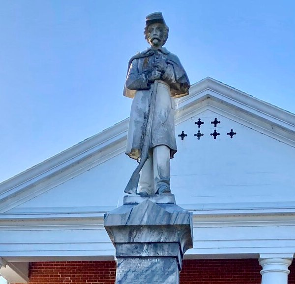 This Oct. 19, 2021, photo shows a Confederate monument in front a county courthouse in Nottoway County, Va. (AP Photo/Robert Burns)