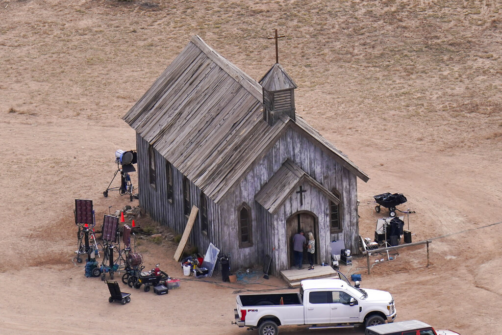 This aerial photo shows a film set at the Bonanza Creek Ranch in Santa Fe, N.M., Saturday, Oct. 23, 2021. (AP Photo/Jae C. Hong)