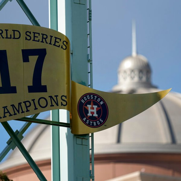 The Houston Astros World Series banner is seen Monday, Oct. 25, 2021, in Houston. (AP Photo/David J. Phillip)