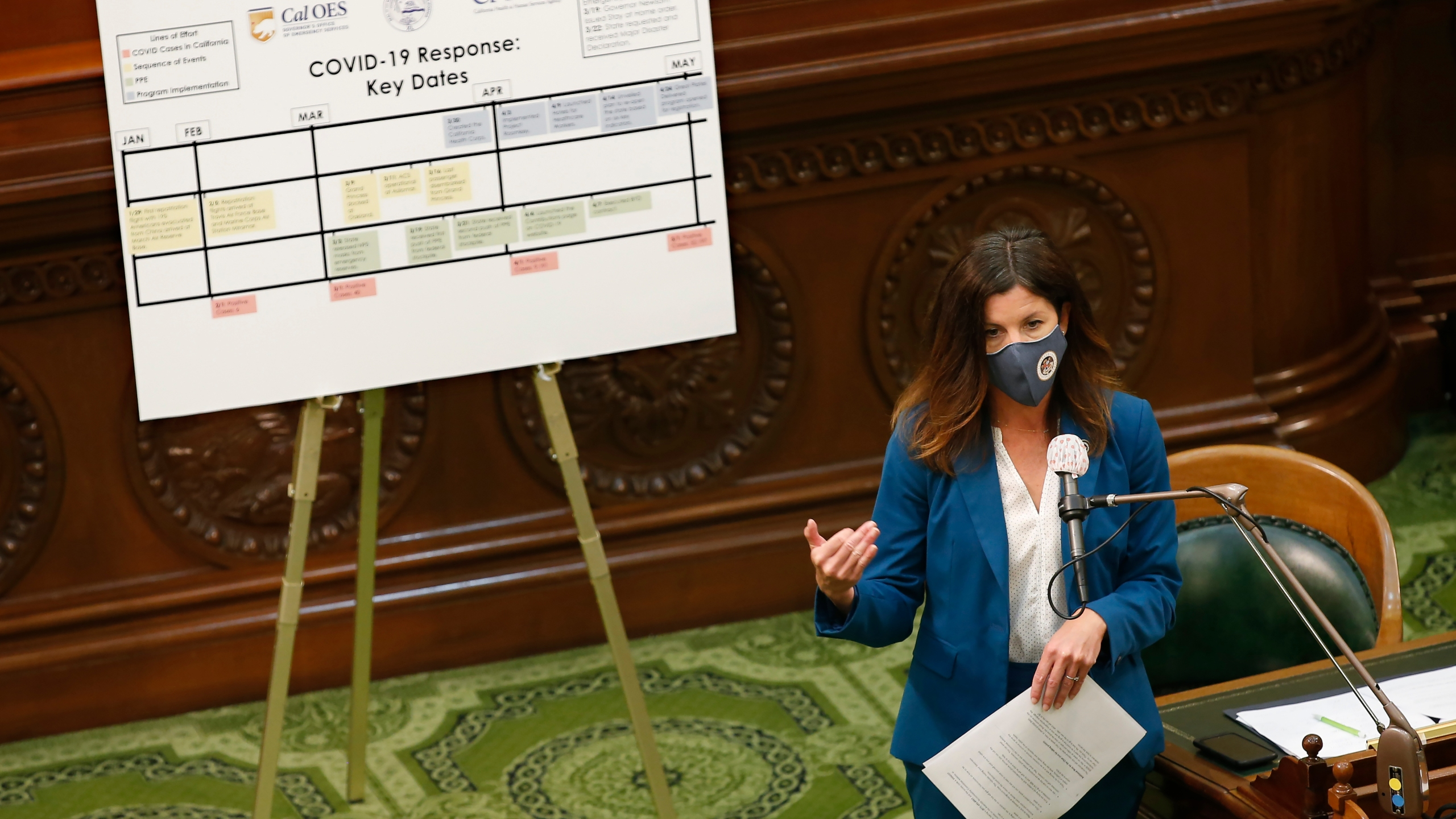 In this May 11, 2020, file photo, Assemblywoman Cottie Petrie-Norris speaks during an oversight hearing in Sacramento, Calif. (AP Photo/Rich Pedroncelli, File)
