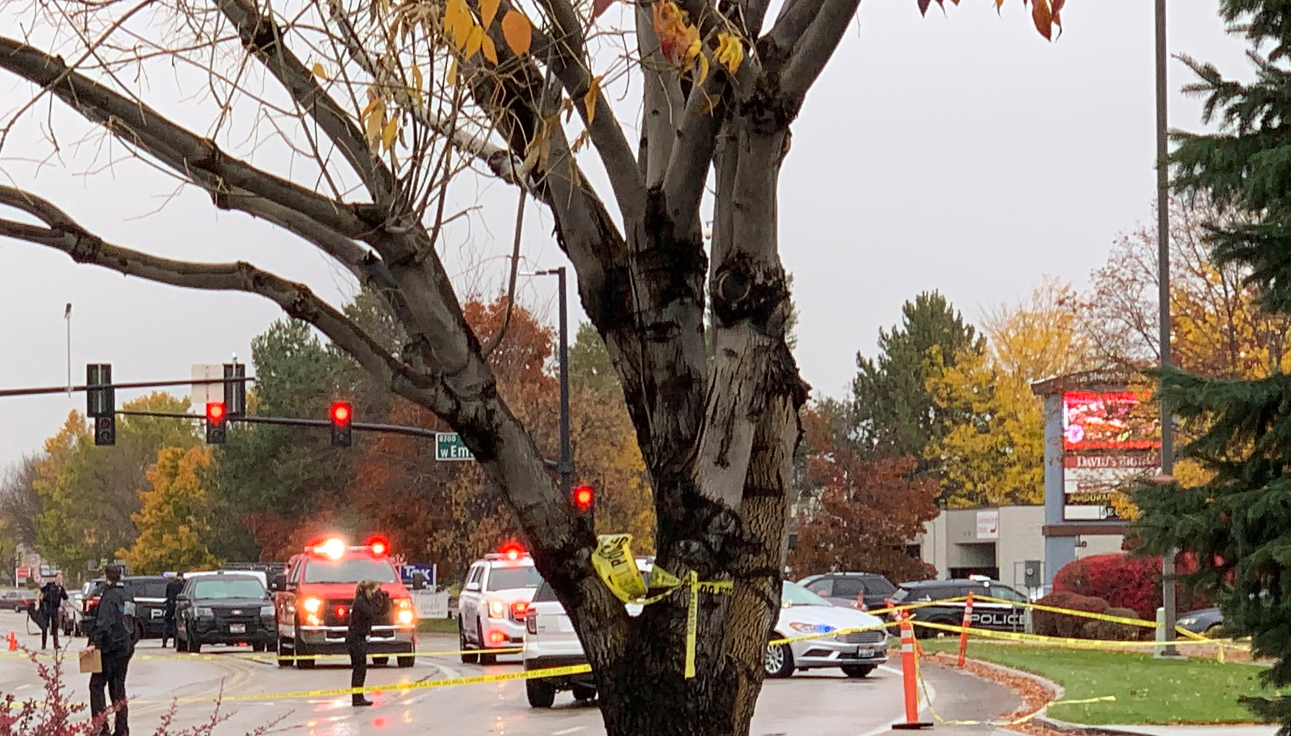 Police close off a street outside a shopping mall after a shooting in Boise, Idaho on Oct. 25, 2021. (Rebecca Boone/Associated Press)