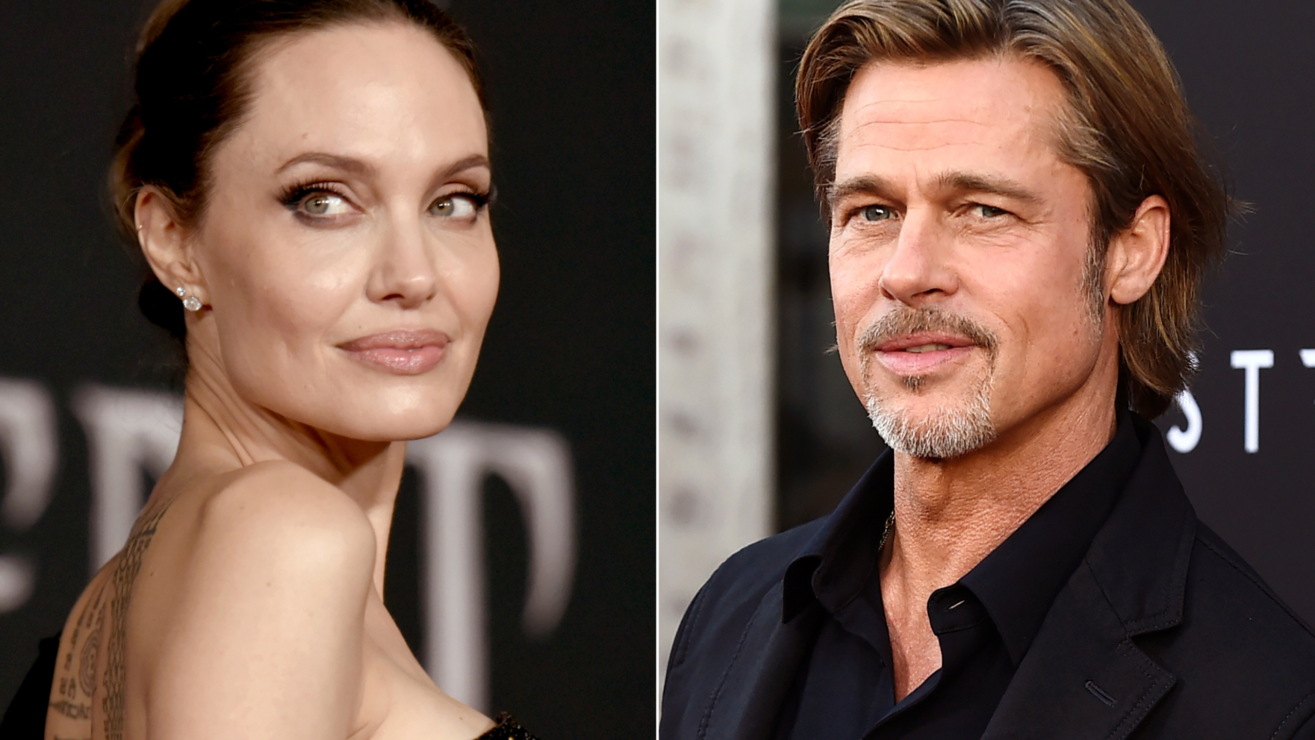This file photo combination shows Angelina Jolie at a premiere in Los Angeles on Sept. 30, 2019, left, and Brad Pitt at a special screening on Sept. 18, 2019. (AP Photo/File)