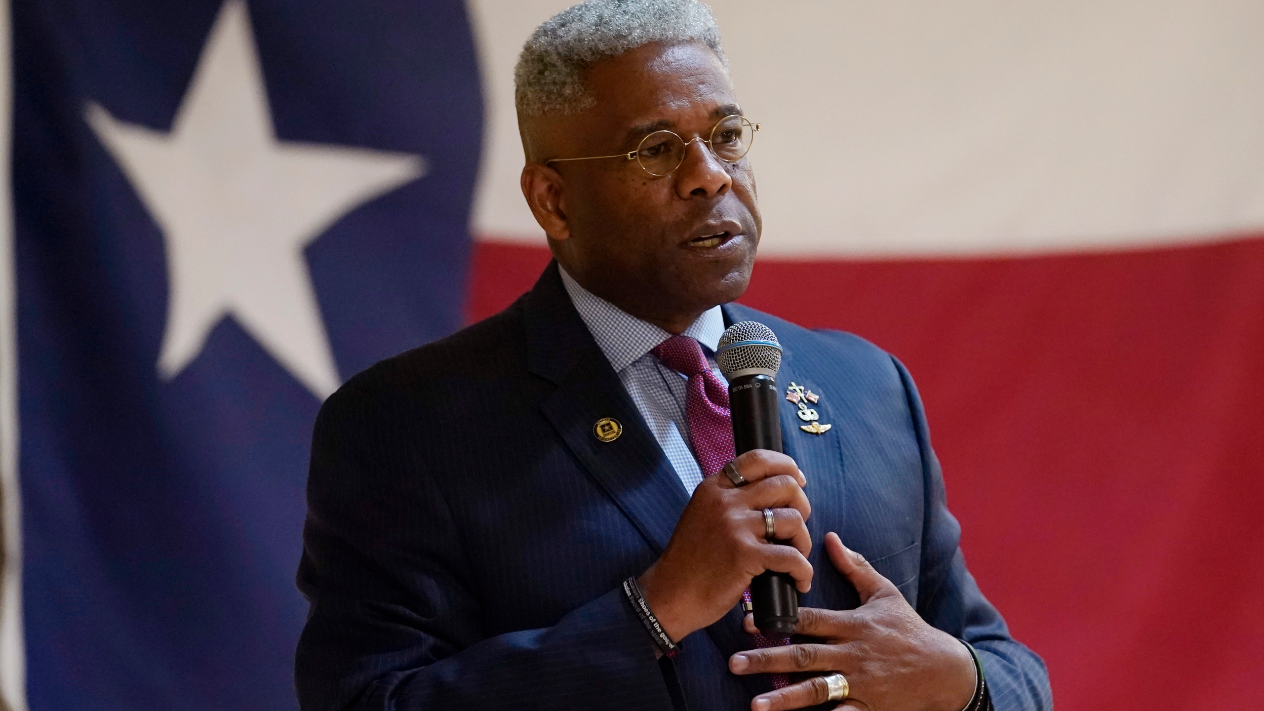 In this Wednesday, Sept. 22, 2021, file photo, Texas gubernatorial hopeful Allen West speaks at the Cameron County Conservatives anniversary celebration, in Harlingen, Texas. West, a candidate for the Republican nomination for governor of Texas, said Saturday, Oct. 9, 2021, that he has received monoclonal antibody injections after being diagnosed with COVID-19 pneumonia. (AP Photo/Eric Gay)
