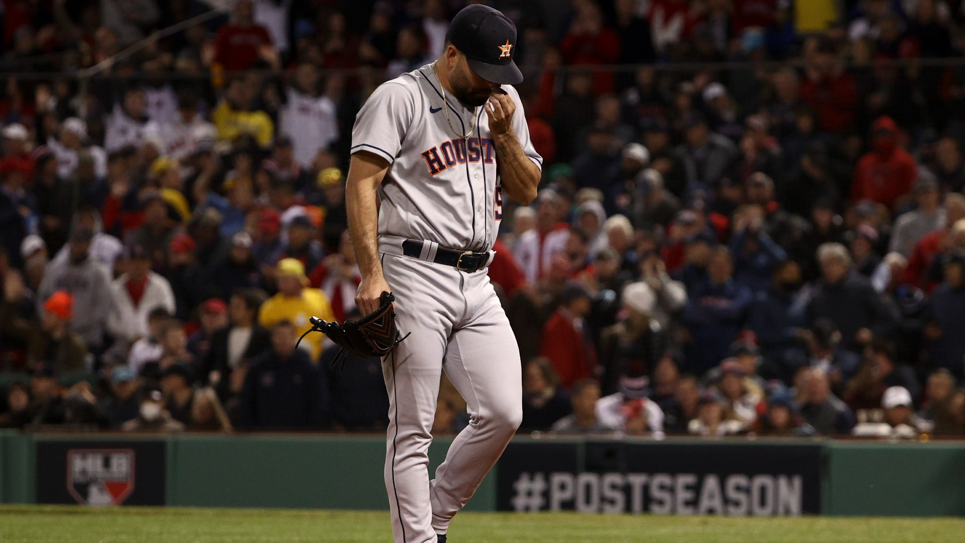 Houston Astros starting pitcher Jose Urquidy leaves the game against the Boston Red Sox during the second inning in Game 3 of baseball's American League Championship Series Monday, Oct. 18, 2021, in Boston. (AP Photo/Winslow Townson)