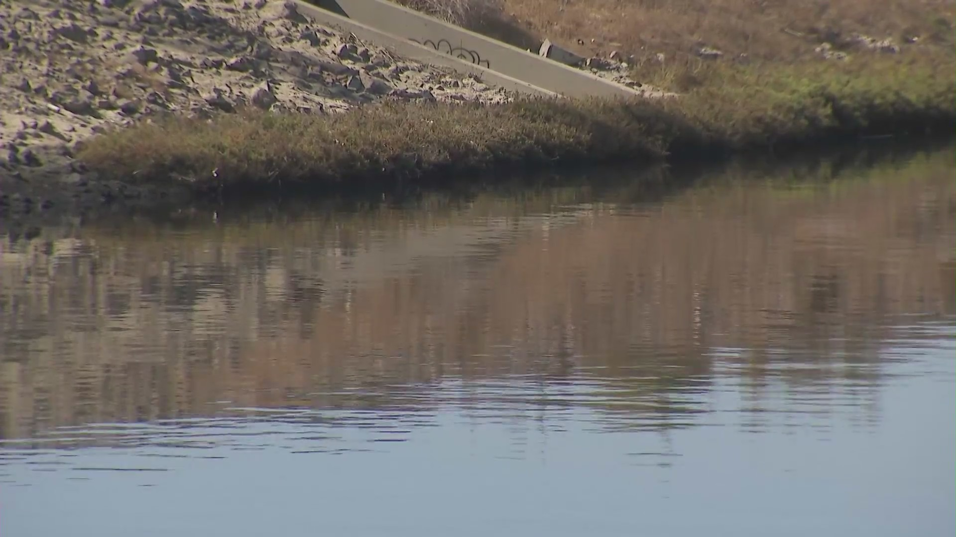 The Dominguez Channel is shown on Oct. 9, 2021. (KTLA)