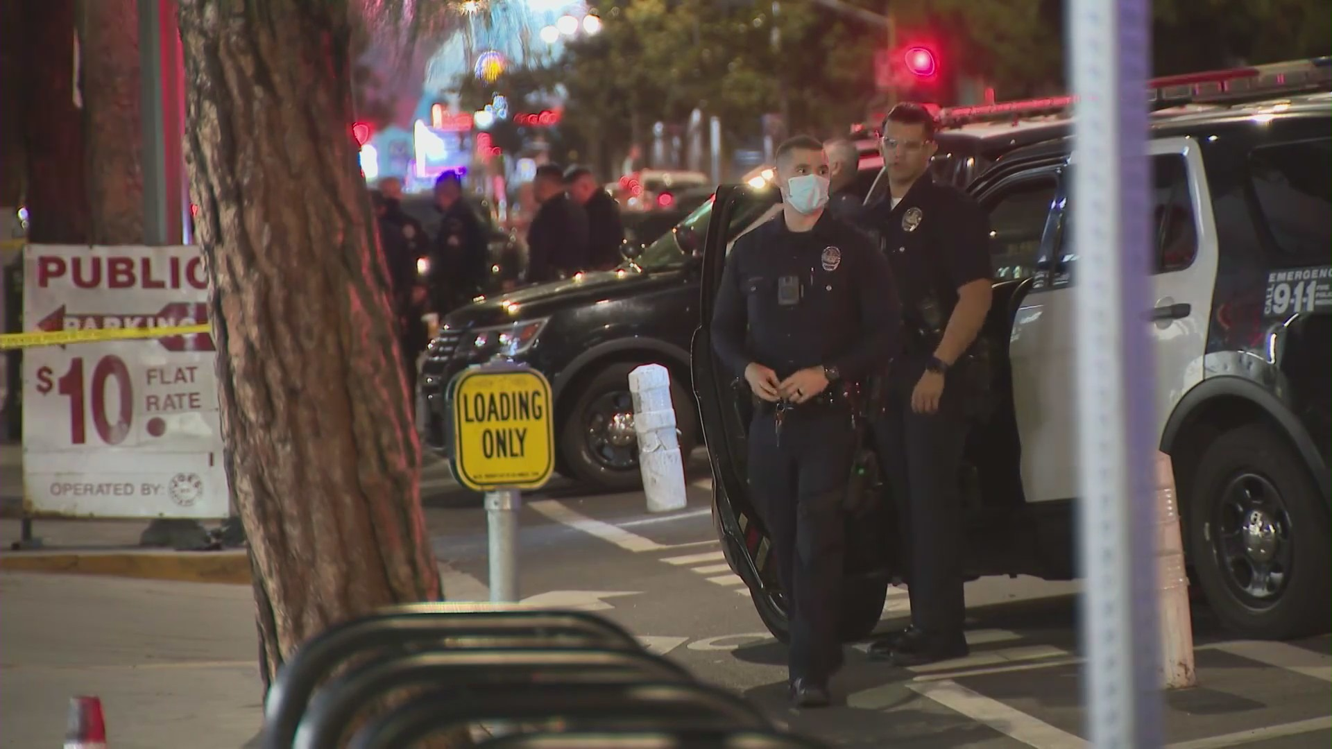 Police are investigating after multiple people were struck by gunfire in downtown L.A. on Oct. 23, 2021. (KTLA)