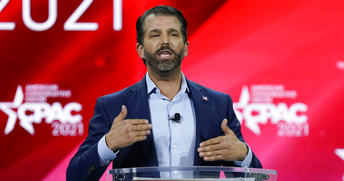 Donald Trump Jr., speaks at the Conservative Political Action Conference on Feb. 26, 2021, in Orlando, Fla. (AP Photo/John Raoux)