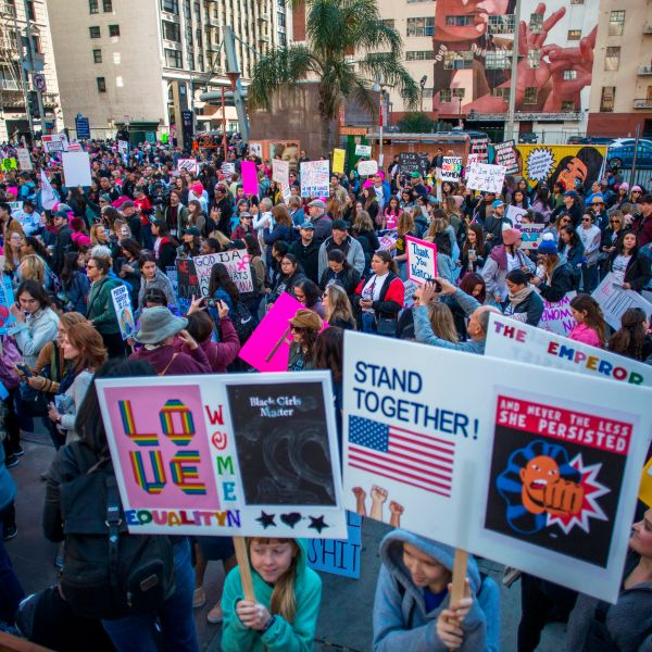 Marchers fill Pershing Sqaure during the Women's March on January 18, 2020 in Los Angeles, California. (Apu Gomes/AFP via Getty Images)