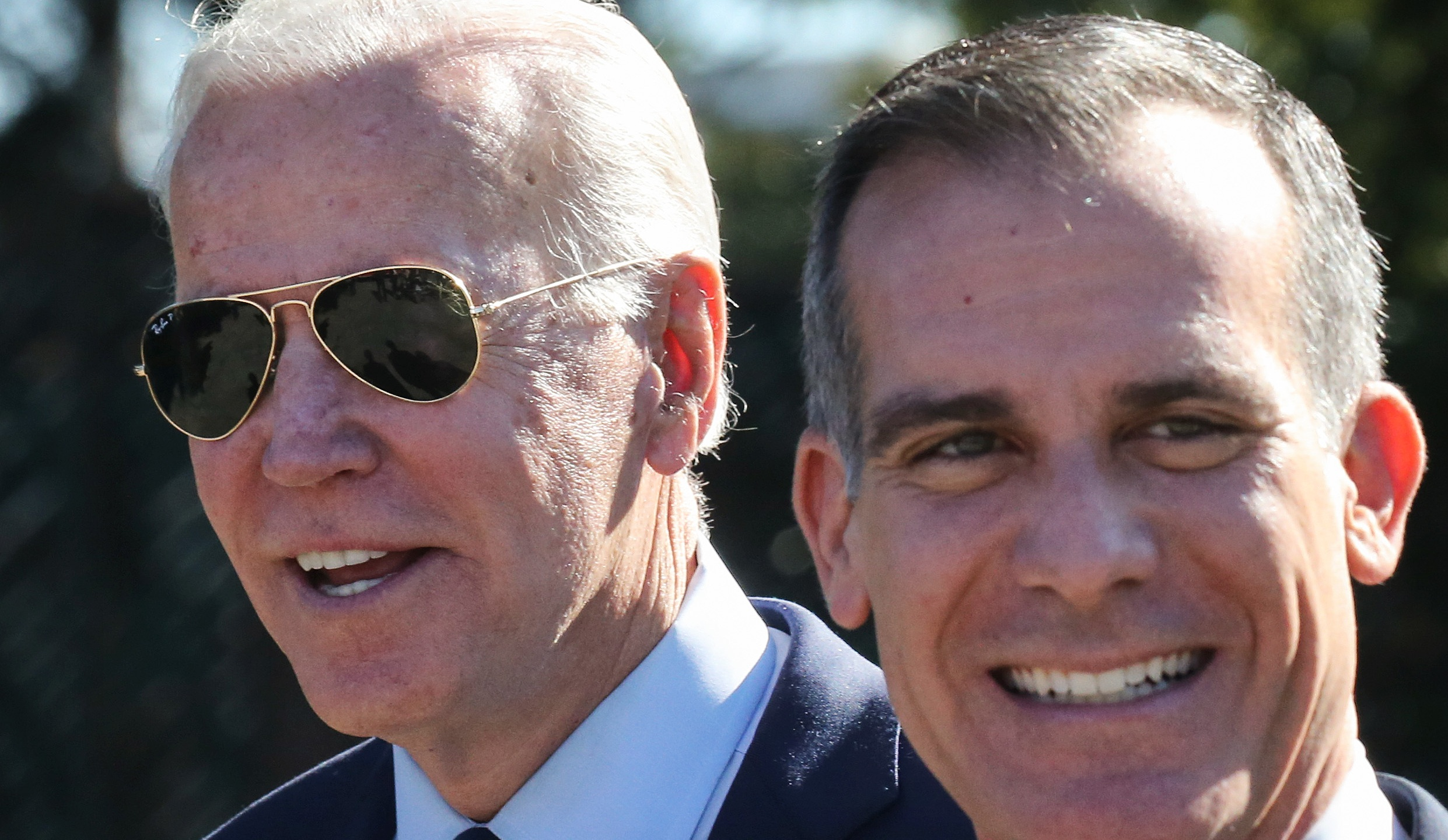 Los Angeles Mayor Eric Garcetti, right, was named in July as President Biden's nominee for U.S. ambassador to India.(Mario Tama / Getty Images)