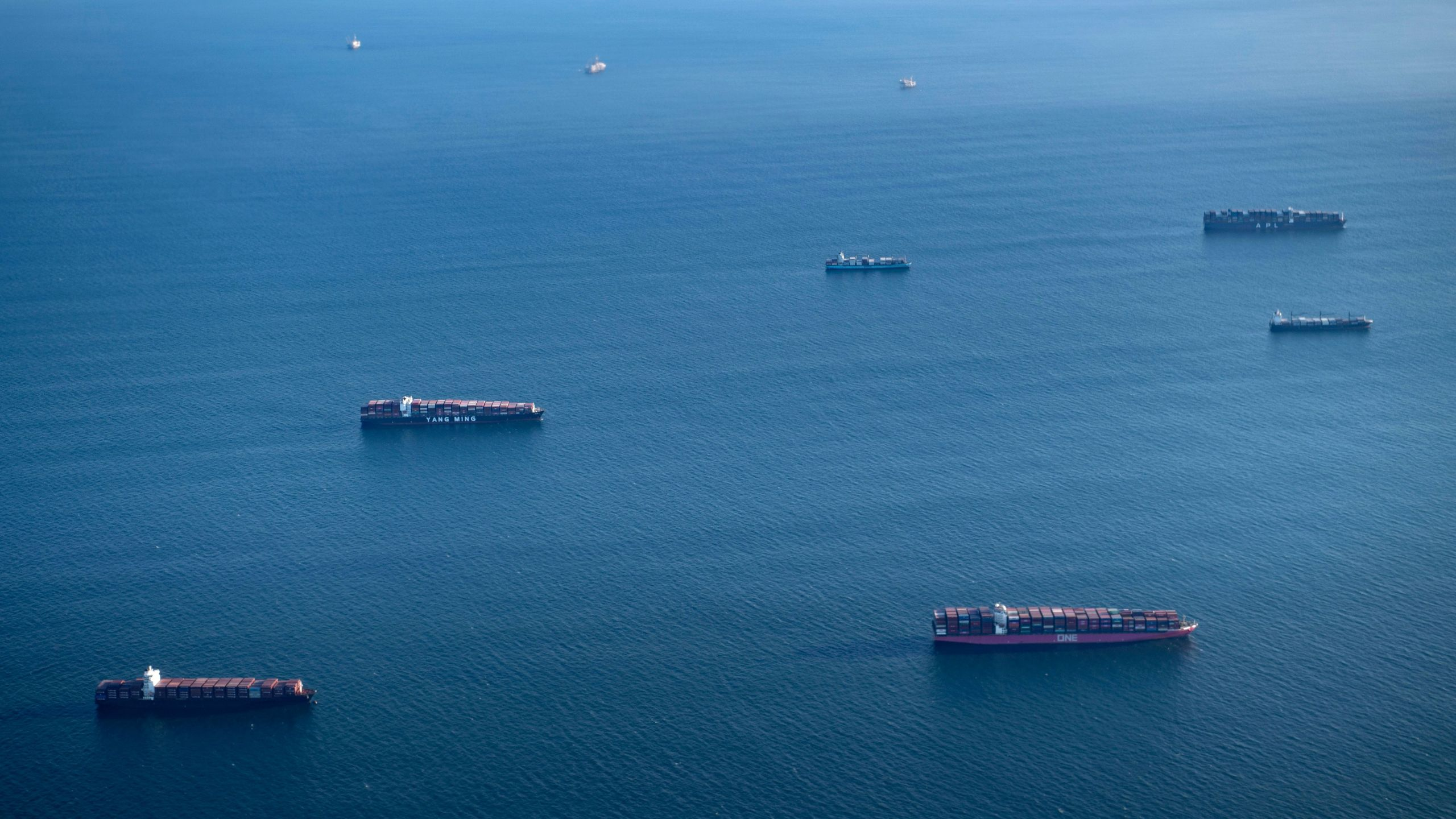 Cargo ships are seen of the port of Long Beach on Sept. 13, 2021, (BRENDAN SMIALOWSKI/AFP via Getty Images)