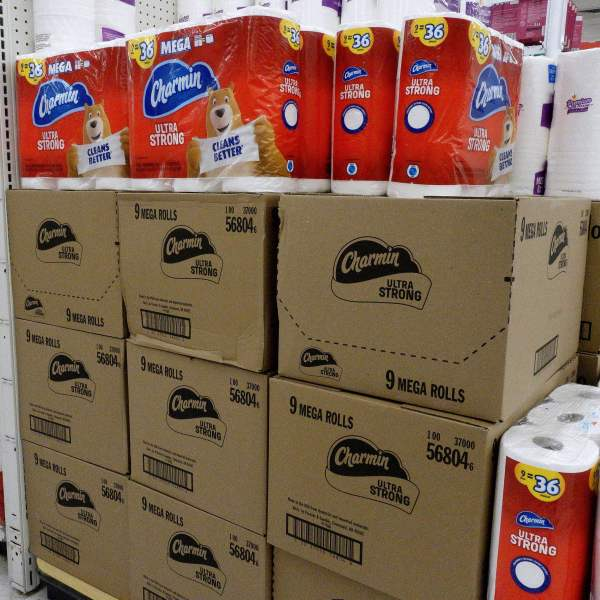 Charmin Ultra Strong toilet paper is on display on a supermarket shelf on Oct. 15, 2021. (OLIVIER DOULIERY/AFP via Getty Images)