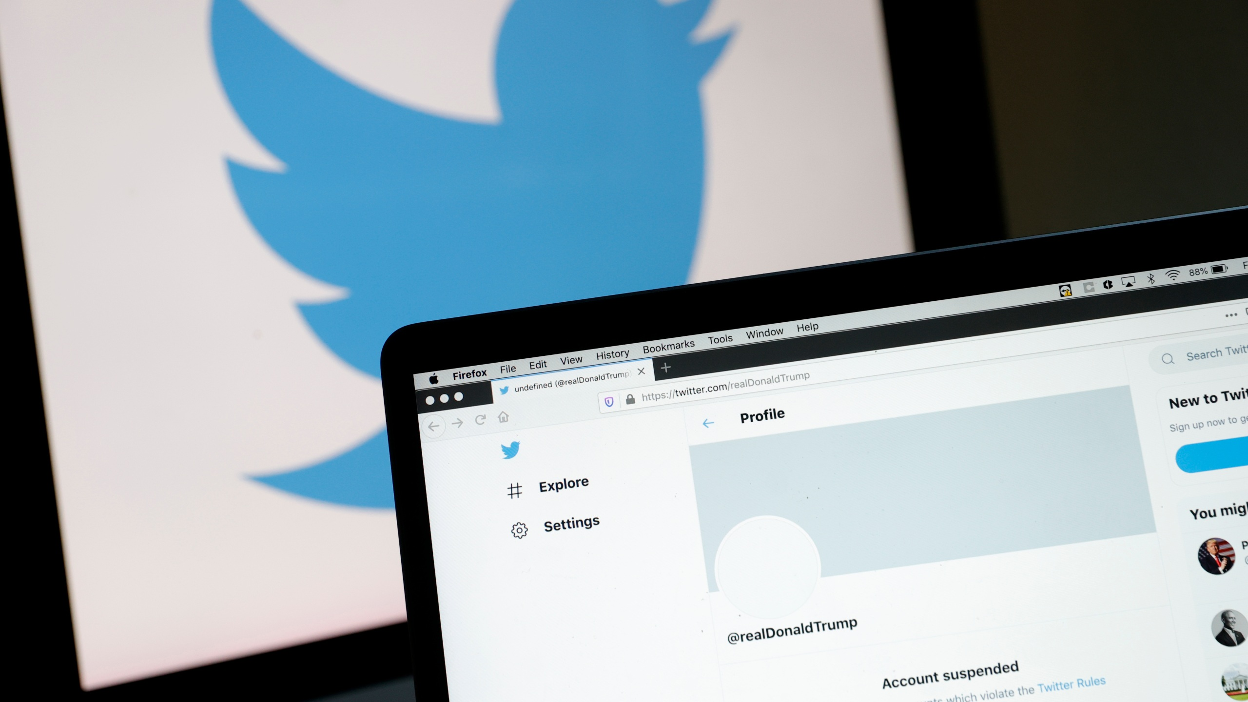 The suspended Twitter account of U.S. President Donald Trump appears on a laptop screen on January 08, 2021 in San Anselmo, California. (Photo Illustration by Justin Sullivan/Getty Images)