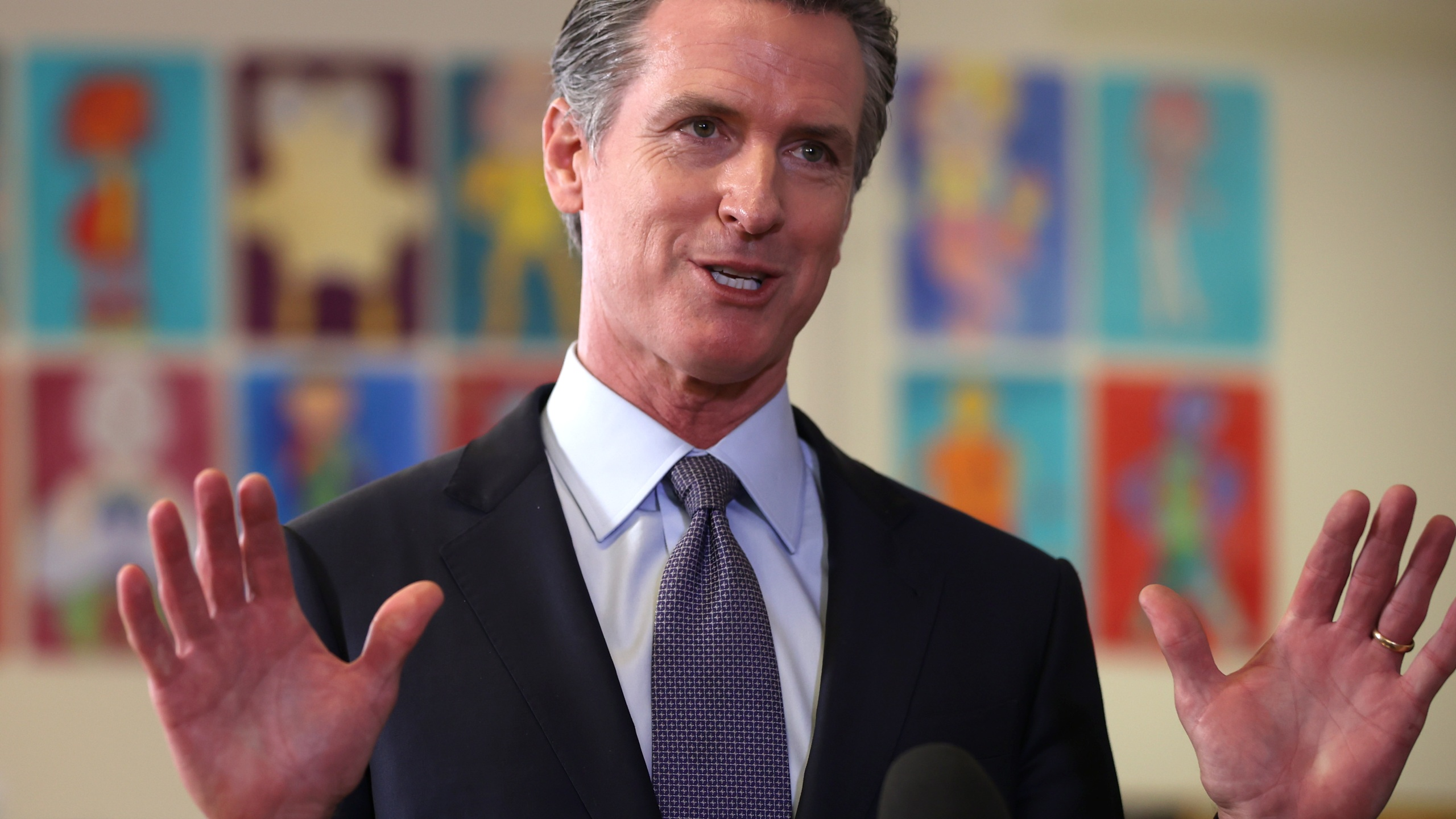 Gov. Gavin Newsom speaks during a news conference after meeting with students at James Denman Middle School in San Francisco on Oct. 1, 2021. (Justin Sullivan / Getty Images)