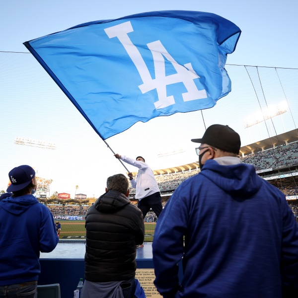Fans look on during game 4 of the National League Division Series between the Los Angeles Dodgers and the San Francisco Giants at Dodger Stadium on Oct. 12, 2021. (Ronald Martinez/Getty Images)