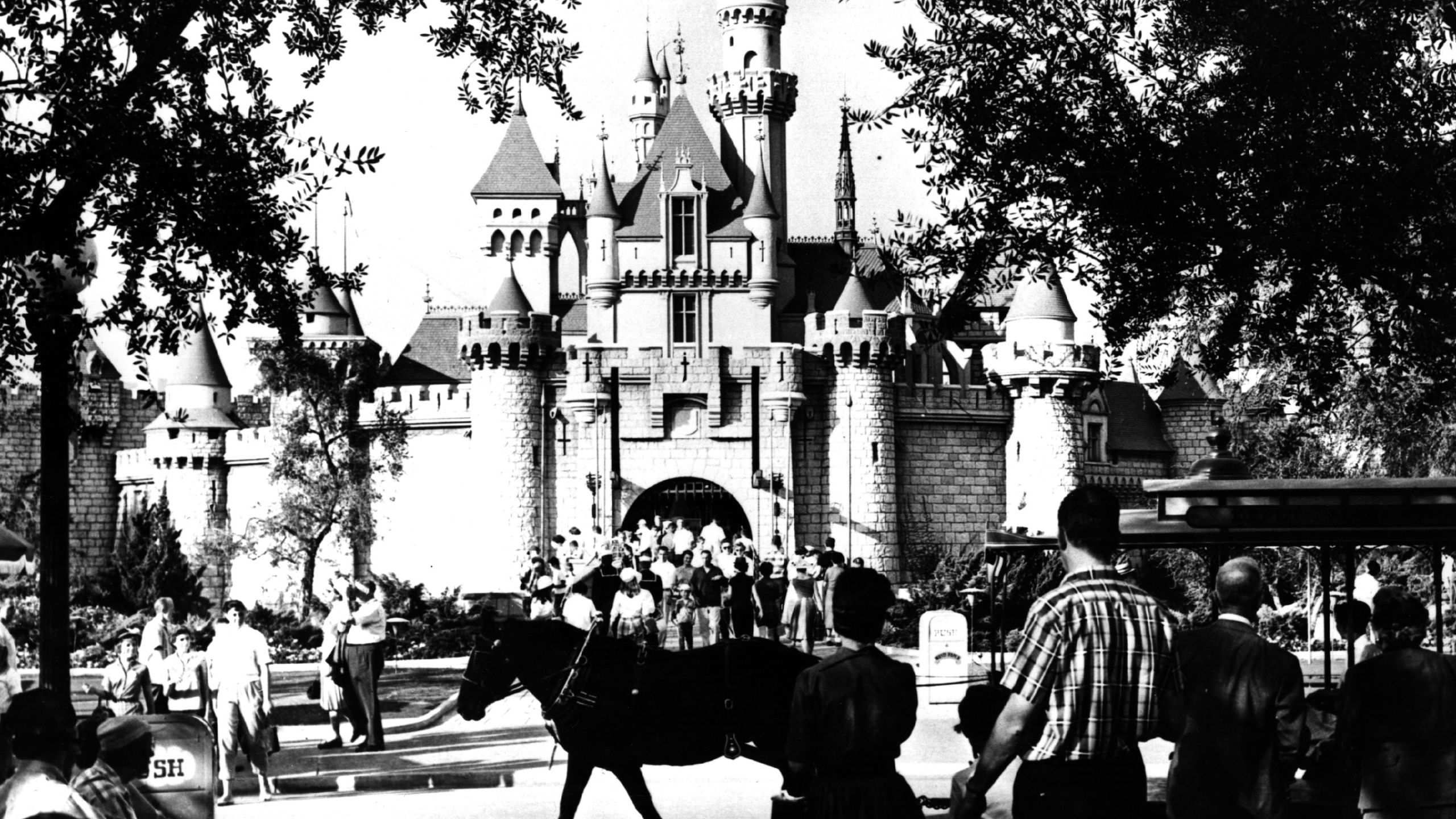 """Tourists visiting the """"Sleeping Beauty Castle"""" at Disneyland in 1960. (Keystone/Getty Images)"""