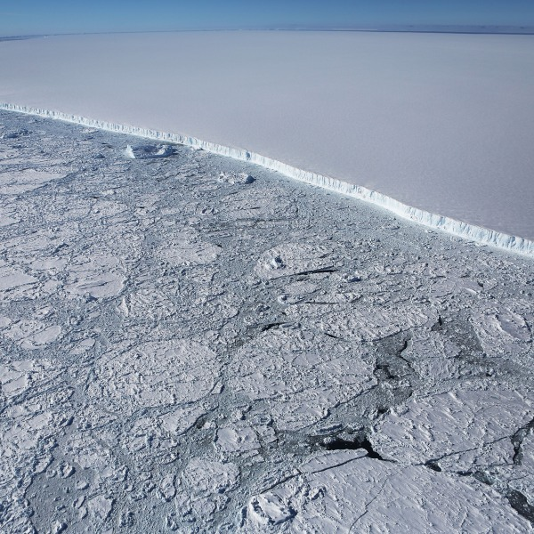 The western edge of the famed iceberg A-68, calved from the Larsen C ice shelf, is seen from NASA's Operation IceBridge research aircraft, near the coast of the Antarctic Peninsula region, on Oct. 31, 2017. (Mario Tama / Getty Images)