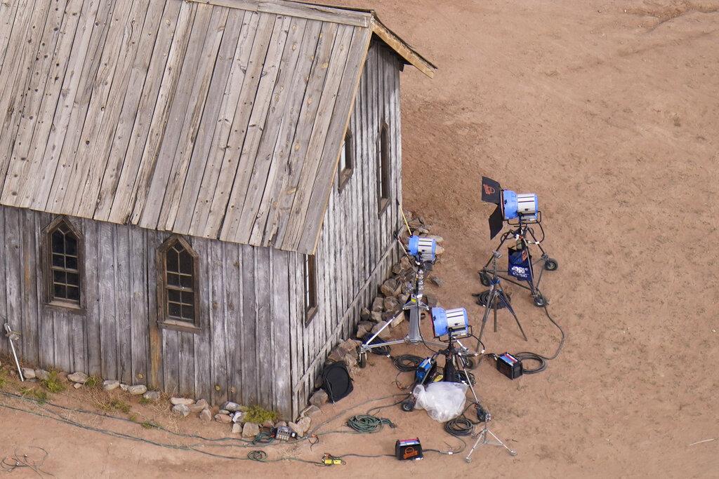 This aerial photo shows the film set at the Bonanza Creek Ranch in Santa Fe, N.M., (AP Photo/Jae C. Hong)