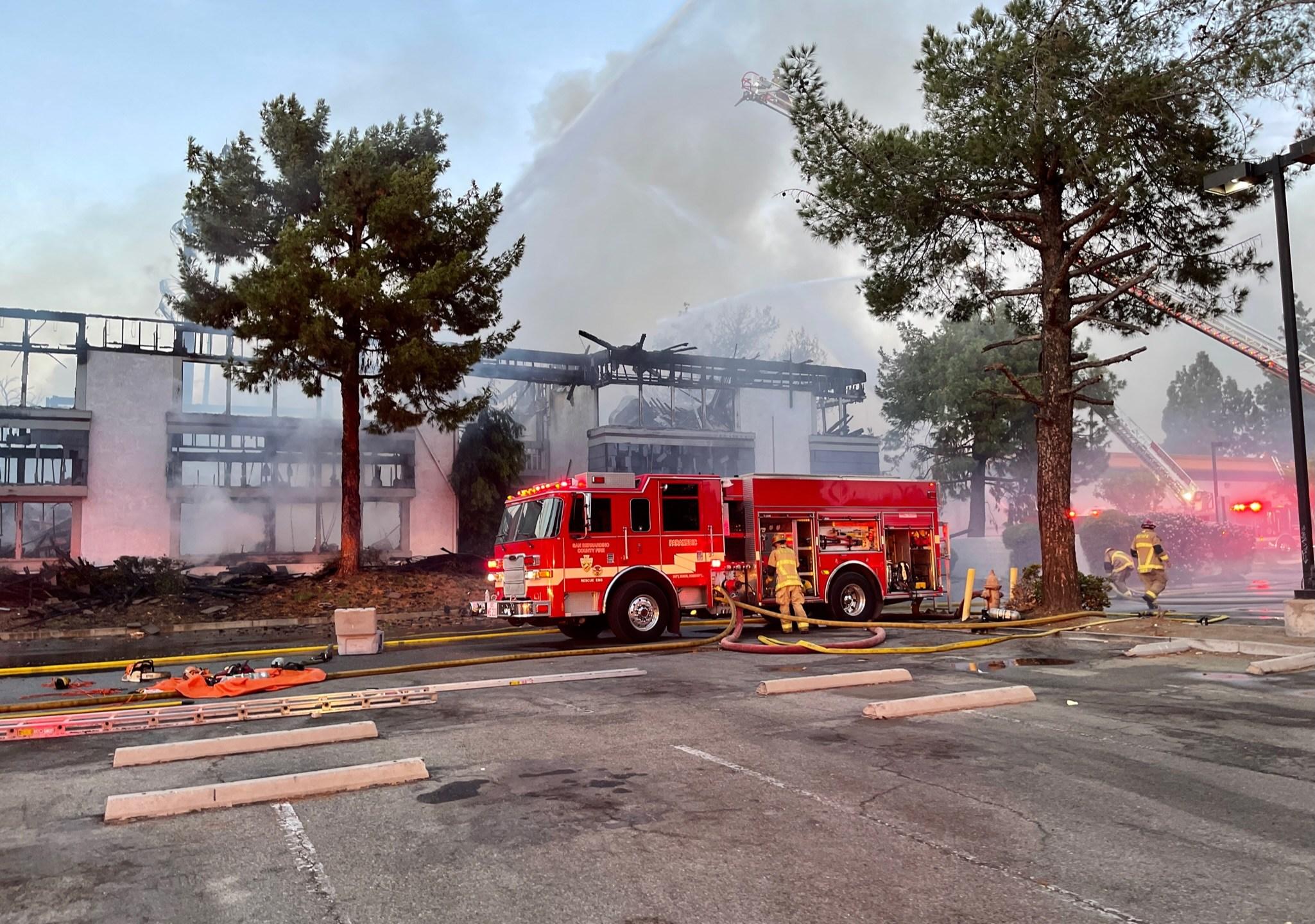 A San Bernardino office building suffered severe damage from a fire on Oct. 3, 2021. (SBCFPD)