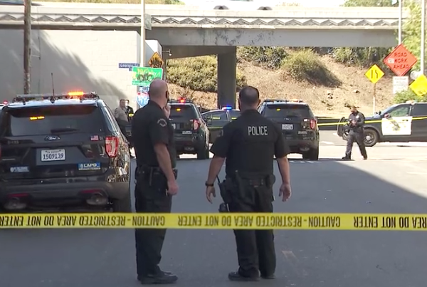 Police respond to a shooting in downtown Los Angeles on Oct. 13, 2021. (KTLA)