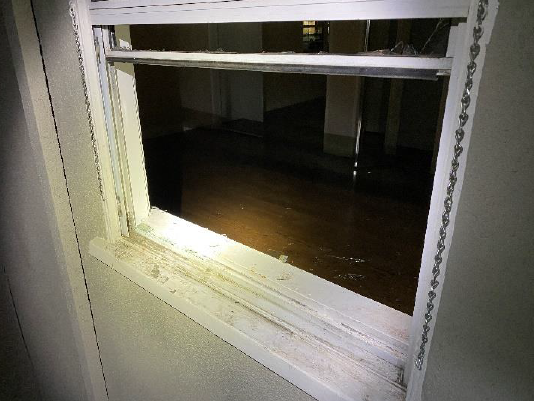 Glendale police on Oct. 26, 2021 released this image of a broken window at an apartment.