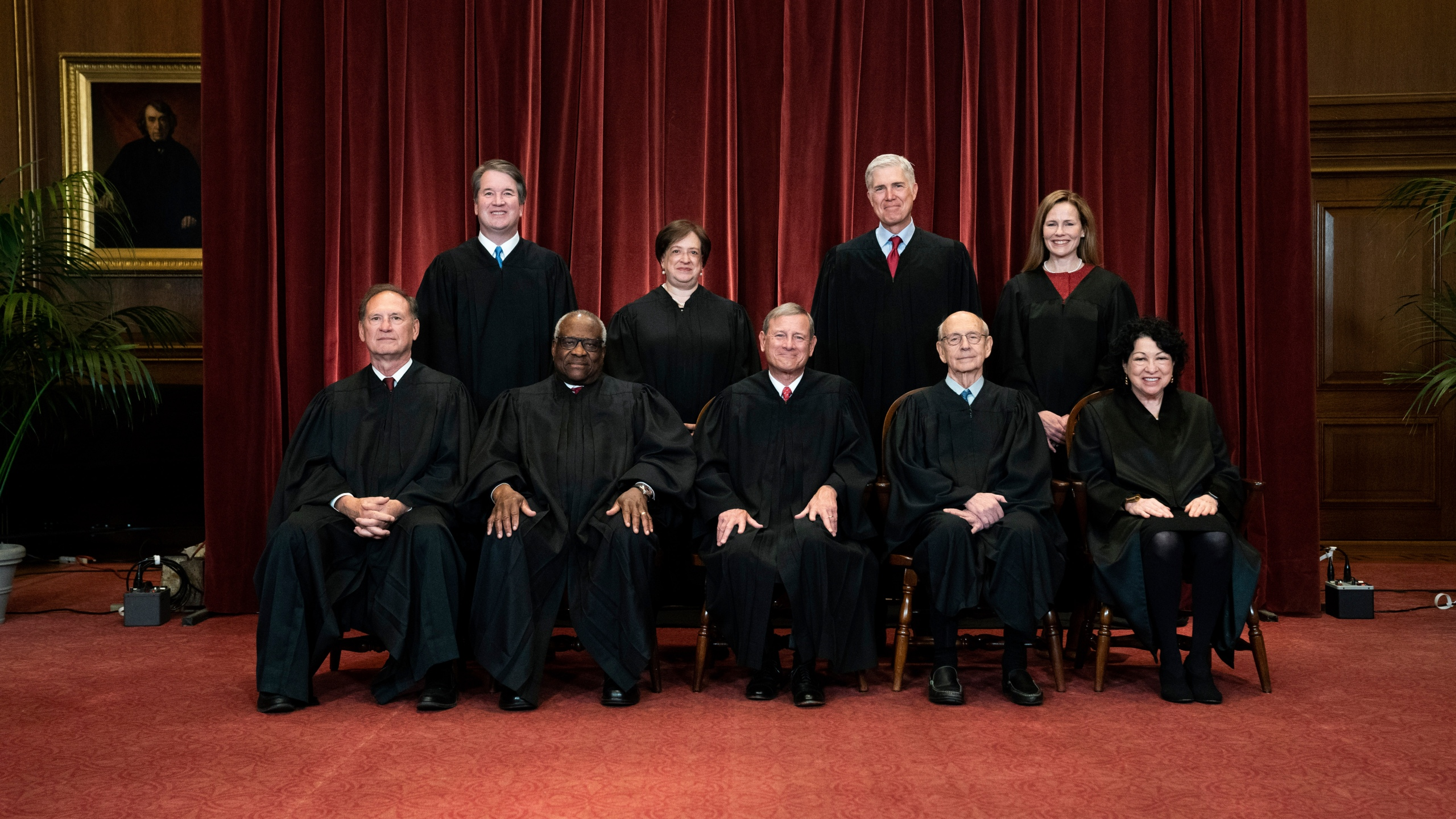 In this April 23, 2021, file photo members of the Supreme Court pose for a group photo at the Supreme Court in Washington. Seated from left are Associate Justice Samuel Alito, Associate Justice Clarence Thomas, Chief Justice John Roberts, Associate Justice Stephen Breyer and Associate Justice Sonia Sotomayor, Standing from left are Associate Justice Brett Kavanaugh, Associate Justice Elena Kagan, Associate Justice Neil Gorsuch and Associate Justice Amy Coney Barrett. (Erin Schaff/The New York Times via AP, Pool)