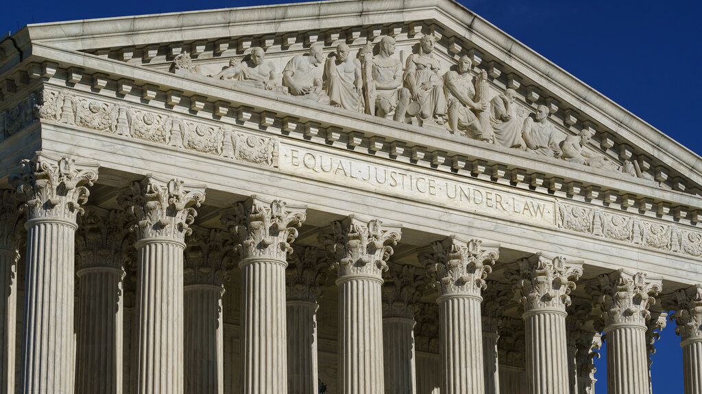 This Friday, Sept. 3, 2021, photo shows the Supreme Court in Washington. (AP Photo/J. Scott Applewhite)