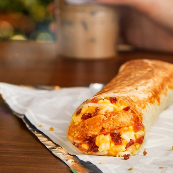 A Taco Bell breakfast burrito is seen in a promotional image from the fast-food chain.