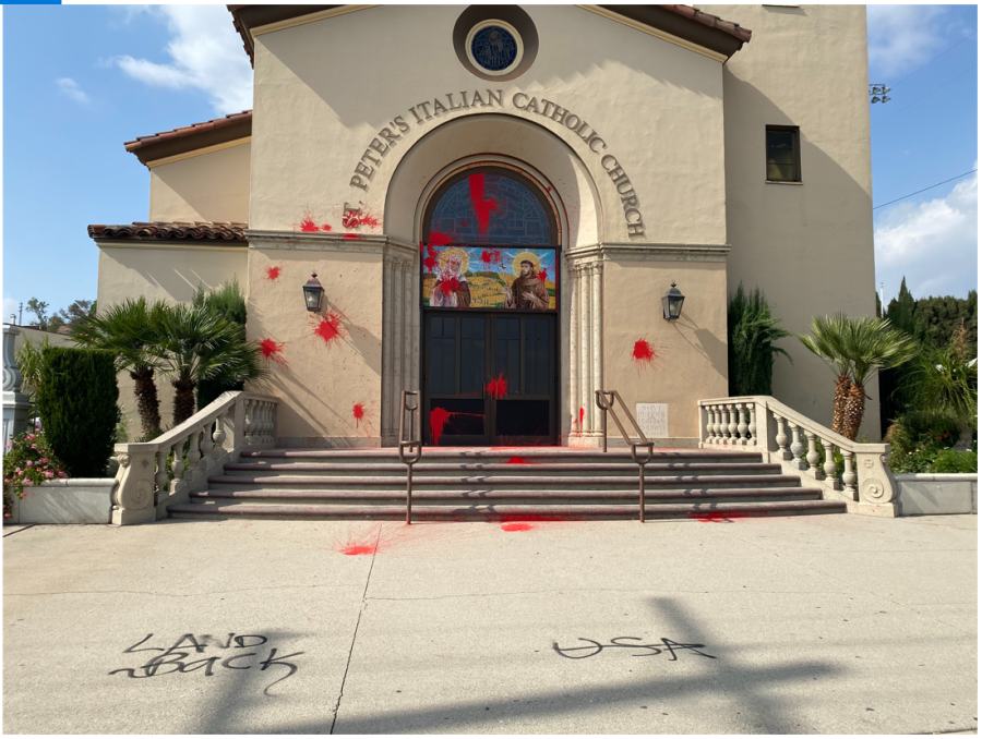 Vandalism at St. Peter's Italian Catholic Church in downtown Los Angeles is seen in a photo released by the Archdiocese of Los Angeles.