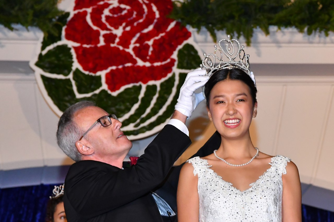 2022 Pasadena Tournament of Roses President Bob Miller and 2022 Rose Queen Nadia Chung are seen on Oct. 26, 2021. (Pasadena Tournament of Roses)