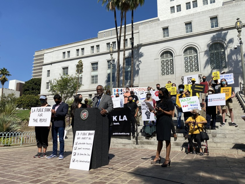 L.A. City Councilman Curren Price speaks outside City Hall at a news conference on Oct. 5, 2021, about public banking in Los Angeles. (Julia Wick / Los Angeles Times)
